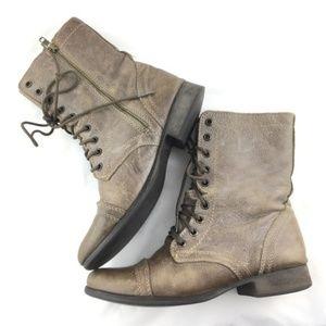 Steve Madden Shoes - Steve Madden Troopa Mid Calf Stone Combat Boot